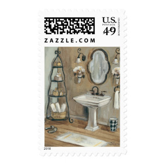 French Bathroom with Mirror and Sink Postage