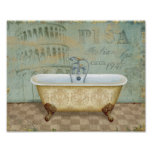 French Bathtub and the Leaning Tower of Pisa Poster