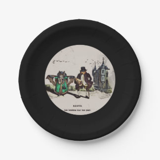 French Bats on a Date 7 Inch Paper Plate
