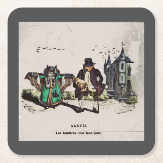 French Bats on a Date Square Paper Coaster
