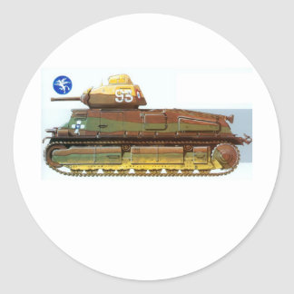 FRENCH BATTLE TANK CLASSIC ROUND STICKER