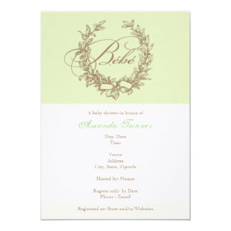 French Bebe Shower Invitation - Green