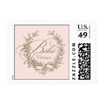 French Bebe Shower Postage Stamp - Pink