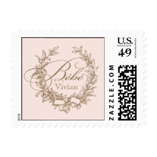 French Bebe Shower Postage Stamp - Pink