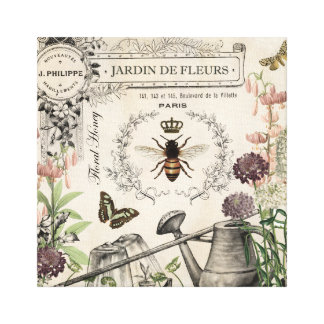 FRENCH BEE GARDEN CANVAS PRINT