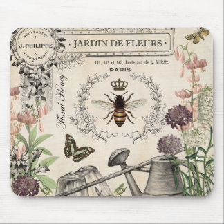 FRENCH BEE GARDEN MOUSE PAD