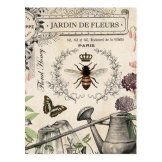 FRENCH BEE GARDEN POSTCARD