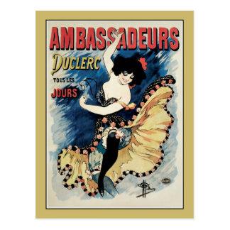 French belle epoque café chantant ambassadors ad postcard