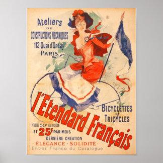 French Bicycle Woman Vintage Art Print