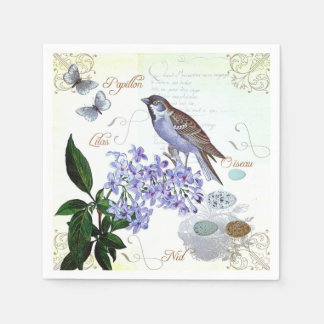 French Bird Floral Collage Vintage Look Napkin