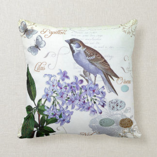 French Bird Floral Collage Vintage Look Throw Pillow