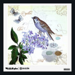 """French Bird Floral Collage Vintage Look Wall Decal<br><div class=""""desc"""">This charming collage includes elements of French typography,  songbird,  lilac flowers,  butterflies,  bird&#39;s nest and eggs. In pretty muted shades of lavender and blue.</div>"""