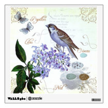 French Bird Floral Collage Vintage Look Wall Decal
