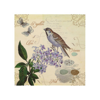 French Bird Floral Collage Vintage Look Wood Wall Decor