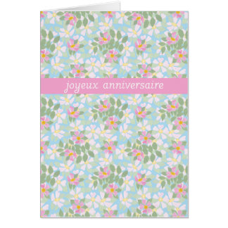 French Birthday Card: Pink Dogroses on Blue Greeting Cards