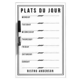 French Bistro Personalized Weekly Menu Dry-Erase Board