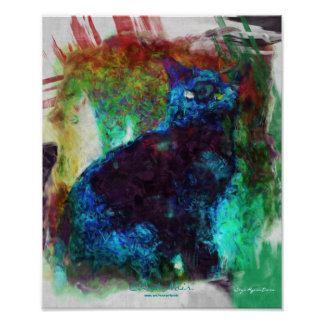 French Black Cat Chat Noir Abstract Art Poster