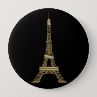 French Black & Gold Eiffel Tower Button Pin