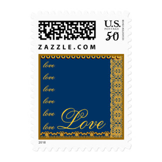 French Blue and Gold LOVE Lace Wedding Stamp
