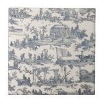 """French Blue and Ivory Toile Ceramic Tile<br><div class=""""desc"""">Lovey ceramic tile with a vintage French Toile fabric pattern done in blue and ivory,  with charming country scenes of every day life. Great as a trivet for the kitchen or frame it for the wall.</div>"""