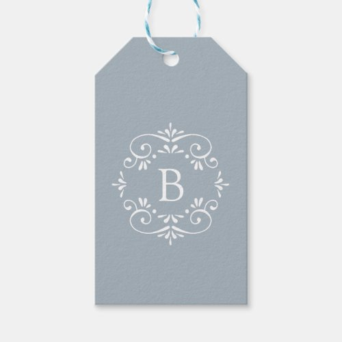 French Blue and White Elegant Monogram Gift Tags