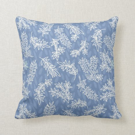 French Blue and White handdrawn Callistemon Throw Pillow