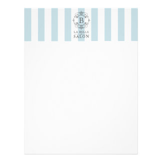 French Blue and White Stripes with Monogram Letterhead