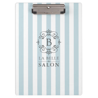 French Blue Awning Stripes with Monogram Logo Clipboard