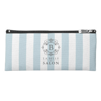 French Blue Awning Stripes with Monogram Logo Pencil Case