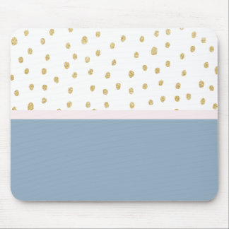 French blue blush pink gold glitter color block mouse pad