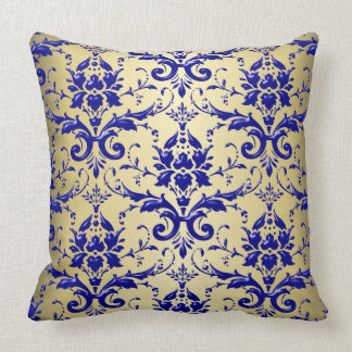 French Blue Damask Pattern with Gold Pillow