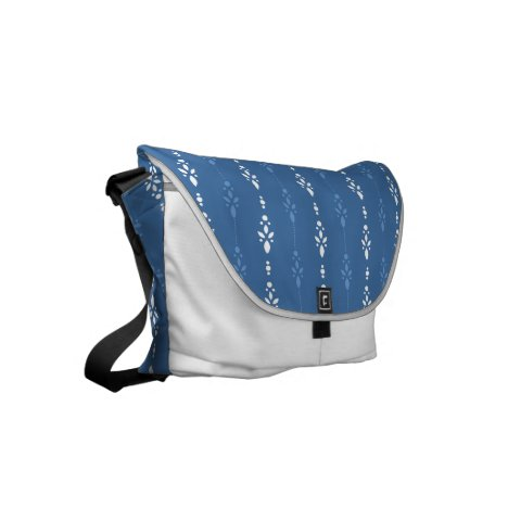 French blue denim look crystal showers pattern small messenger bag