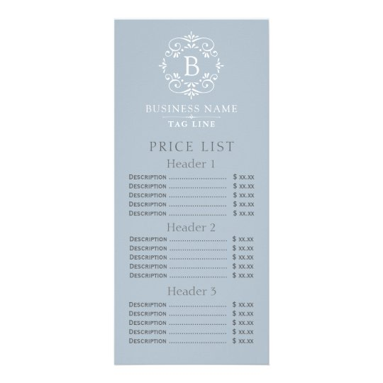 french blue elegant monogram price list rack card zazzle com