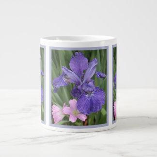 French Blue Iris Pink 20 Oz Large Ceramic Coffee Mug