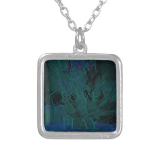 French Blue  Love Eat  Play Flower colors for all  Square Pendant Necklace