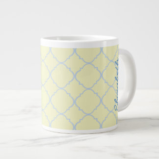 French Blue Pastel Quatrefoil Large Coffee Mug