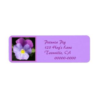 French Blue Purple Pansy Return Address Label