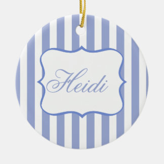 French Blue Stripes Double-Sided Ceramic Round Christmas Ornament