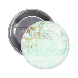 French Bluebird & Tassels Pinback Button