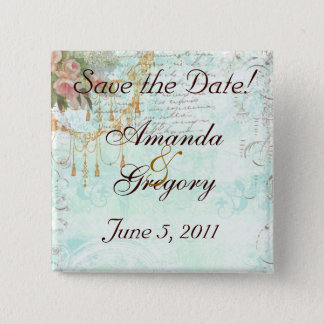 French Bluebird & Tassels Save the Date Pinback Button