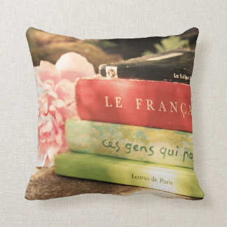 French Books and Pink Peony Throw Pillow