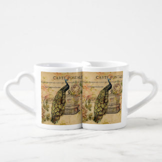 french botanical art art nouveau vintage peacock coffee mug set