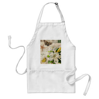 french botanical art country butterfly lily adult apron