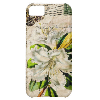 french botanical art country butterfly lily cover for iPhone 5C