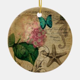French botanical art seashell floral hydrangea ceramic ornament
