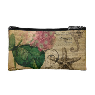 French botanical art seashell floral hydrangea makeup bag