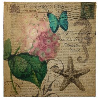 French botanical art seashell floral hydrangea napkin