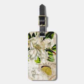 french botanical art starfish butterfly lily bag tag