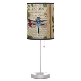 french botanical art vintage dragonfly table lamps