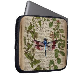 french botanical art vintage dragonfly laptop computer sleeve